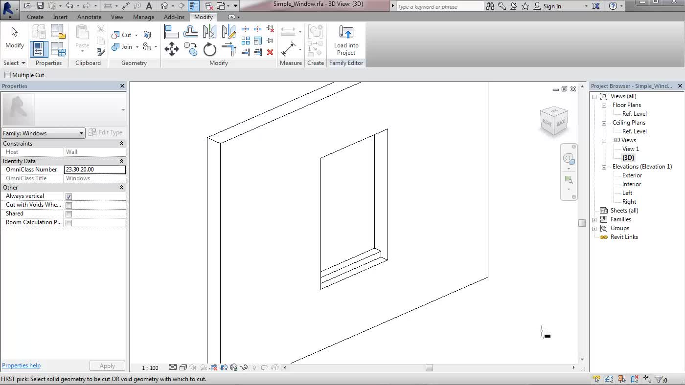 Revit Families: Creating a simple Window - TOI-Pedia